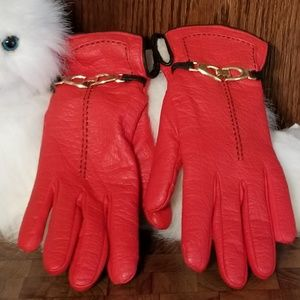 Aris red gloves with black stiching & gold buckle